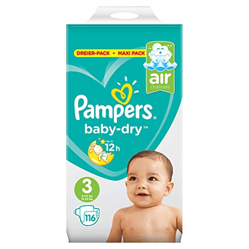Pampers Baby-Dry Windeln, Gr. 3, 6kg-10kg, Dreier-Pack (1 x 116 Windeln)