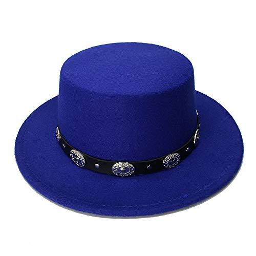 ZLQ Retro Kid Vintage 100% Wool Wide Brim Cap Pork Pie Porkpie Bowler Hat Braid Leather Band(54cm/Adjusted) Cowboy Hat (Color : Blue, Size : 54cm)