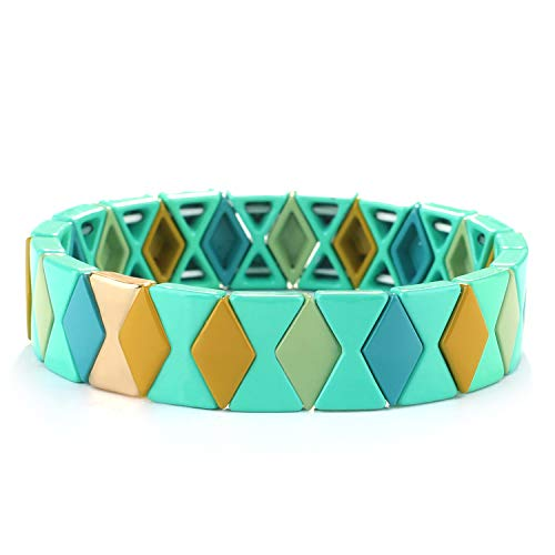 KANYEE Diamant geformte Regenbogen Emaille Armbänder Gold Legierung Braded Stretch Armbänder Freundschaft Armreifen für Frauen Junges Mädchen, Combo 1