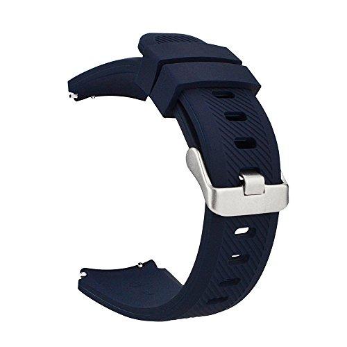MroTech 22mm Armband kompatibel für Samsung Gear S3 Frontier Classic, Galaxy Watch 46mm Silikonarmband Uhrenarmband für Fossil Herren, Pebble Time, Moto 360 2 46mm, LG G Watch -silikon Dunkelblau