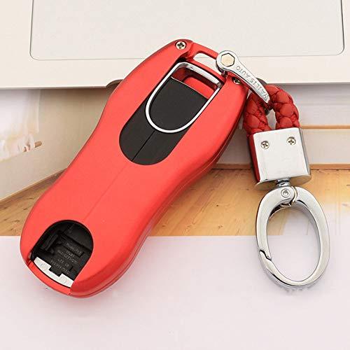 Autosleutelbehuizing Geschikt Voor Porsche, Autosleutelhouder, Antikras Beschermende Sleutelhangerhoes, Autosleutel Shell-Beschermer Compatibel, Rood Met Sleutelhanger