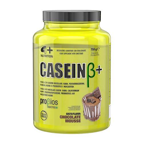 4+ NUTRITION - Casein β+, Integratore Sportivo, Caseina Micellare, Crescita della Massa Muscolare e Riduzione della Stanchezza, Pensato per la Notte, in Polvere, Gusto Chocolate Mousse, 750 g