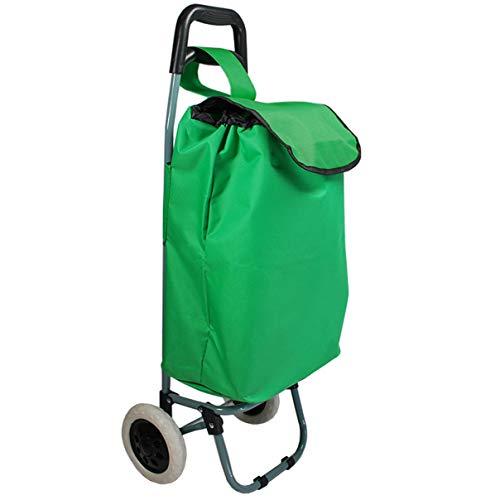 Helo Einkaufstrolley klappbar mit 30 Liter Volumen (nur 1,5 kg leicht), Einkaufsroller mit Abnehmbarer Tasche, stabilem Trolley Metallgestell und ergonomischem Griff - Grün