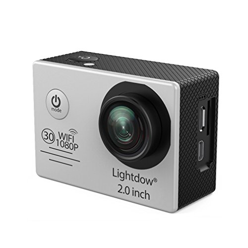 Lightdow LD6000 Wifi 1080P HD Sports Action Camera Kit - App Remote Control 30m Waterproof 2.0 Inch LCD Screen 170 Degree Wide Angle 2 Rechargeable Batteries and Mounting Accessories (Silver+WiFi)