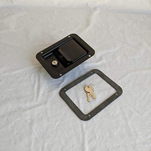 1- Black Powder Coated Paddle Latch Tool Box Door Lock 5.50'L x 4.25'W & Gasket
