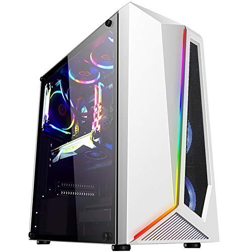 QQ HAO Ordenador Mainframe Chassis, Desktop DIY Lado Completo Transparente RGB Juego ATX Refrigerado por Agua Chasis De Gran Tablero,Blanco