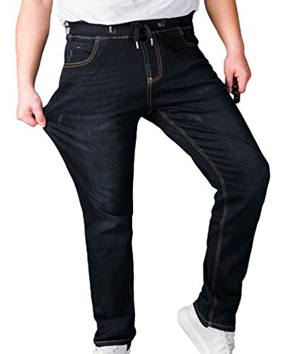 Sentao Homme Grande Taille Jeans Élasticité Taille Loisir Denim Pantalon Droit Jeans Mode Baggy Jeans Pantalon Noir 6XL