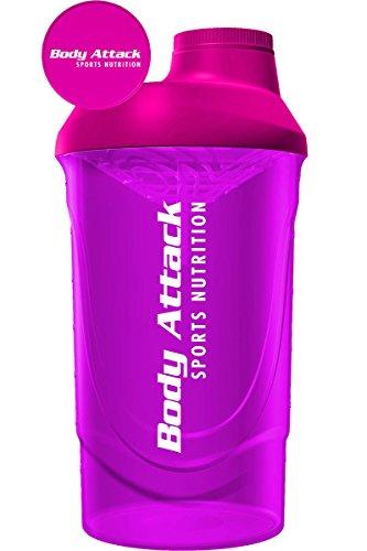 Body Attack Protein Shaker mit Sieb, Pink, 600ml, Fitness-Becher BPA frei, auslaufsicher und spülmaschinenfest für cremige Shakes