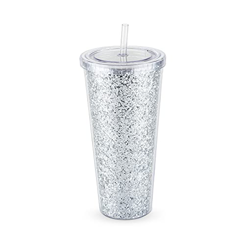 Glam Silver Double Walled Glitter 24oz Tumbler by Blush   Reusable, Leak-Proof, Travel, Clear Plastic, Slim, Iced Coffee Cup with Silicone Seal, Screw-On-Lid, and Straw