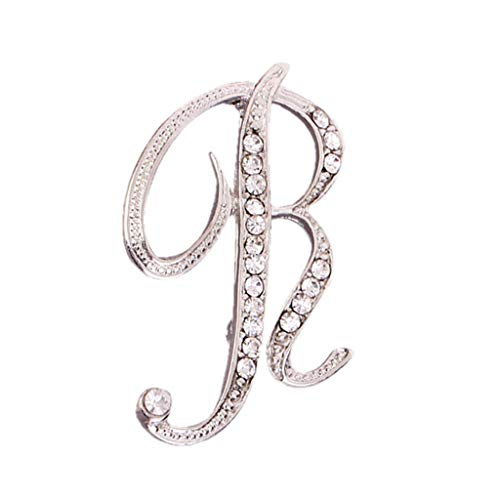 Novelty Jewellery for Women, Crystal 26 English Letters Brooch Pin  Couple Memorial Jewelry Love Gifts 1PC(R)