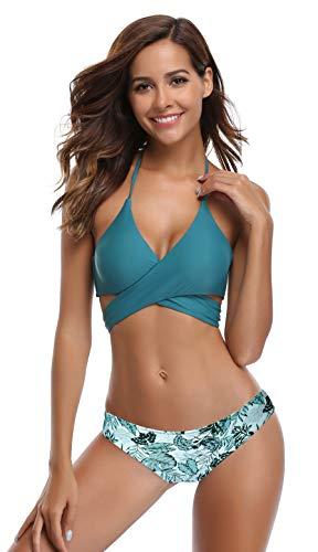 SHEKINI Womens Bathing Suits Push Up Halter Bandage Bikini Floral Printing Swim Bottoms Two Piece Swimsuits (Valley Green - C, Small)
