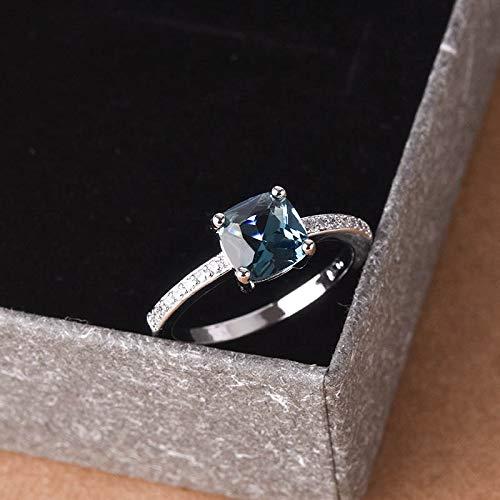 Huxindao 14k White Gold Plated Peacock Blue Topaz Square Diamond Ring Gemstone Ring Aquamarine Gemstone Wedding Bridal Band Ring for Women (7)