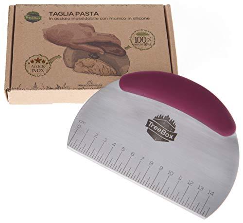 TreeBox Spatola/Tagliaimpasto Professionale, Raschietto, Taglia Pasta, Coltello per Impasti Pizza Dolci e Pasticceria, Acciaio Inox e Silicone