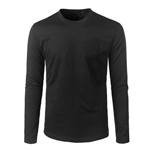 Toamen Hommes T-shirt à manches longues T-shirt de poche oblique T-shirt à manches longues Hauts décontractés Chemisier O cou Slim Fit Top (XXL, Noir)