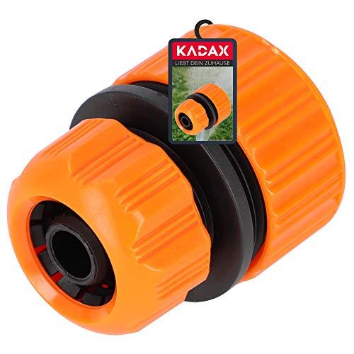 KADAX Reparator für Gartenschlauch aus Kunststoff ABS, Schlauchkupplung mit Reduzierung, Steckverbinder, Schlauchverbinder, Schnellkupplung (Orange)