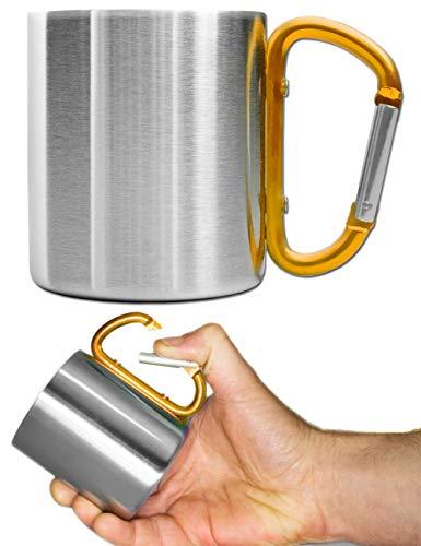 Outdoor Saxx - Taza de camping para exteriores, taza de metal, con asa de mosquetón atornillada, acero inoxidable, senderismo, trekking, trabajo, 250 ml, color plata/naranja