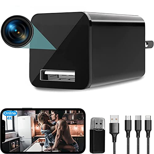 4K USB Hidden Camera Wall Charger WiFi, Aneekiti Mini Spy Camera with Motion Detection, Indoor Surveillance Camera Wireless Hidden Cell Phone app Nanny Cam for Home Security and Office