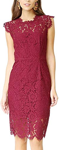 Women's Sleeveless Floral Lace Slim Evening Cocktail