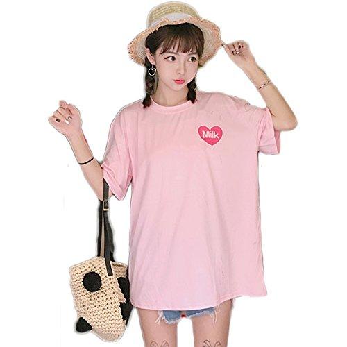 Women Girls Summer Kawaii Fruit Juice Cotton T-Shirt Japanese Style Little Fresh (Pink)