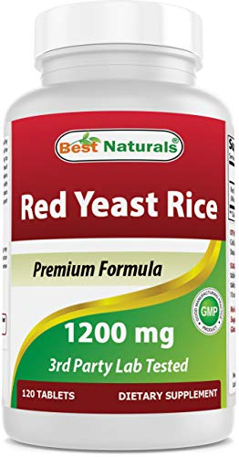 Best Naturals Red Yeast Rice Cholesterol Support 1200 mg (Non-GMO) 120 Tablets