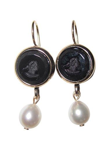 Aparte Gemmen-Ohrringe Ohrhänger schwarze Glas-Gemme Perlen-Ohrringe hängende Süßwasserperle Bronze Handarbeit Designer EXTASIA