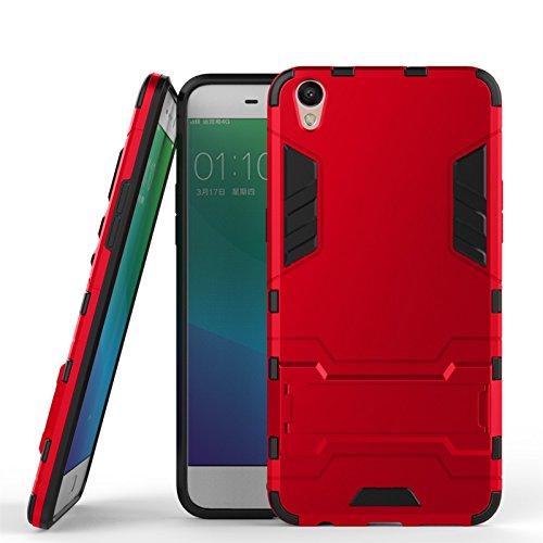 ZHIWEI Das tragbare Handy Tasche Für Oppo R9 Plus Standhalter-Handygehäuse, robuste Kickstand-Rückseite, Schutzhülle (Color : Wine Red)