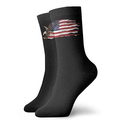 JONINOT Bandera americana guila calva Calcetines deportivos de algodn informales esenciales para hombres Calcetines W8.5CM X L30CM