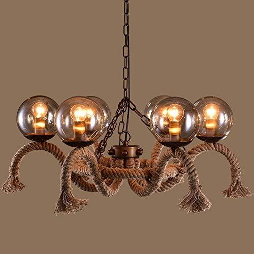 Lyuez Creative-Theme restaurant gedecoreerde plafondlamp industriële glazen bol kroonluchter E27 milieuvriendelijke energiebesparende kroonluchter verstelbare plafondlamp