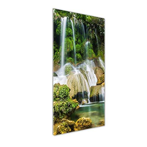 Tulup Glas-Bild Wandbild aus Glas - Wandkunst - Wandbild hinter gehärtetem Sicherheitsglas - Dekorative Wand für Küche & Wohnzimmer 50 x125 - Landschaften - Wasserfall im Dschungel - Grün