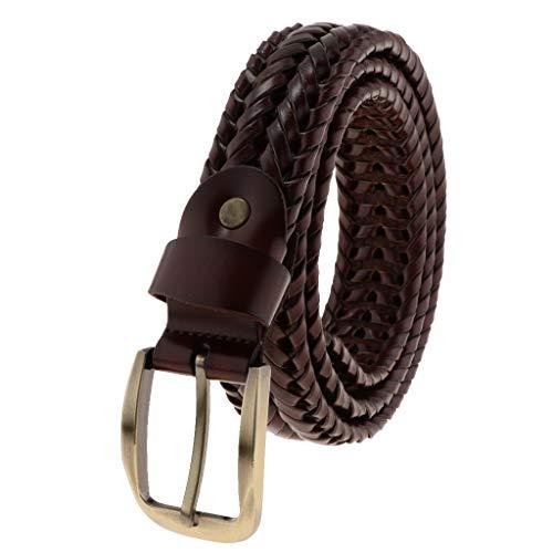 Baoblaze Cinturón de Cuero Trenzado Hebilla de Diente Recto Rectángulo para Pantalones Vaqueros Casuales de HOmbres - Café oscuro, como se describe
