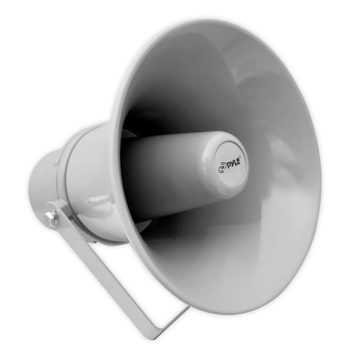 Indoor Outdoor PA Horn Speaker - 9.7 Inch 20-Watt Power Compact Loud Sound Megaphone w/ 400Hz-5KHz Frequency, 8 Ohm, 70V Transformer, Mounting Bracket, For 70V Audio System - PyleHome PHSP101T (Gray)