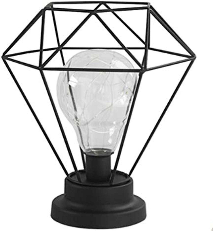 ALILEO Nordische Schmiedeeiserne Diamantbirne Kreative Hause Schmuck Dekoration Schlafzimmer Nachttischlampe