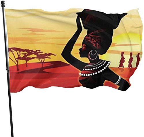 Viplili Banderas African Woman Flag 3x5 FT Garden Flag Tough The Strongest, Longest Lasting Flag National Flag Outdoor Flags