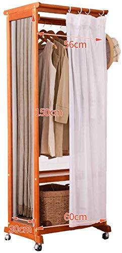 Staande garderobe met spiegel. Met riemschijf full-body spiegel stof gordijn Europese stijl houten kleerhanger slaapkamer woonkamer A C