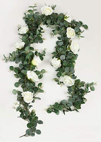 Famibay Künstliche Eukalyptus Girlande mit Weiß Rosen Blumen Blätter Girlande für Hochzeit Zuhause Dekoration