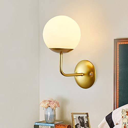 Applique Vetro da Parete, Moderna lampada da parete Paralume in Vetro Applique in metallo per Comodino Casa Ristoranti Corridoio Sala da Pranzo Salotto Camera E27 15cm, Gold
