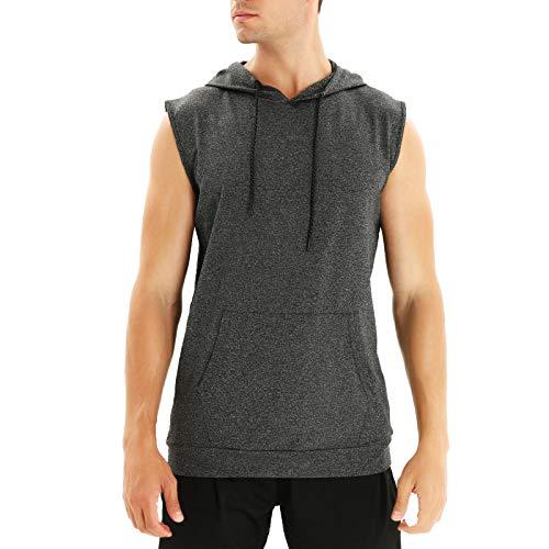 WHCREAT Camiseta de Tirantes para Hombre Camisa de Entrenamiento sin Mangas Chaleco de Deporte con Capucha, Gris Oscuro M
