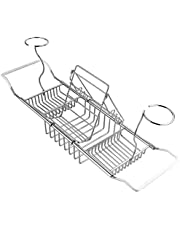 LULAA バスタブトレー バスタブラック バスブックスタンド バステーブル 伸縮式 ステンレス スマホ iPad 本 ワイン用 お風呂用 浴槽ラック お風呂雑貨置き台