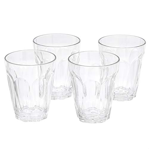 Amazon Basics Tritan Working Style Double Old Fashion Glasses - 16-Ounce, Set of 4
