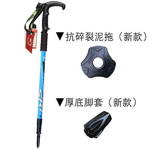 Ultra-léger trekking pole équipement de randonnée bâton télescopique en carbone pliant ultra court extérieur béquilles de montagne pliant mât d'escalade, pointes bleues 2 séries (poignée en T)