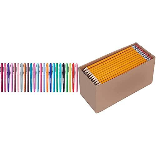 Amazon Basics Felt Tip Marker Pens - Assorted Color, 24-Pack & Woodcased #2 Pencils, Pre-sharpened, HB Lead - Box of 150, Bulk Box