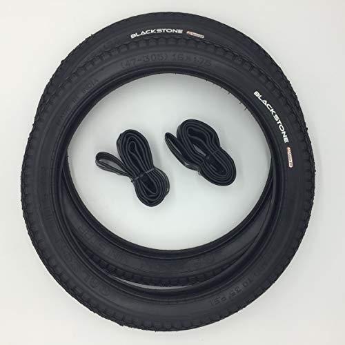 Blackstone 2x16 Zoll City Reifen + AV Schläuche Decke Mantel Fahrrad Klapprad Anhänger 16x1.75 | ETRTO 47-305 mit 1mm Pannenschutz