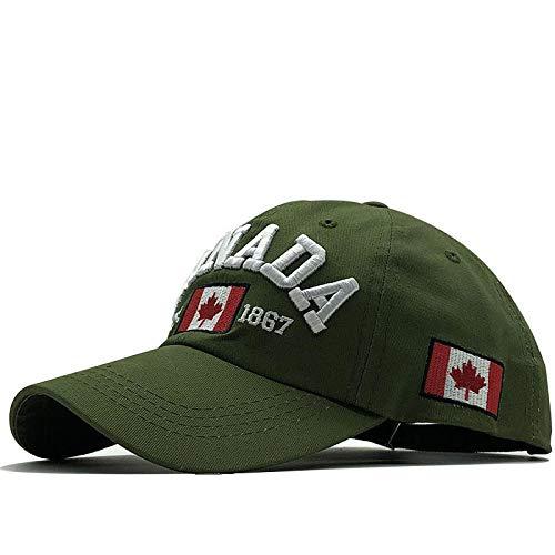 Unisex Adult Maple Leaf Washed Fishing Baseball Cap Baumwolle Kanada Kanada Letter Bestickte Baseball Cap-Grün