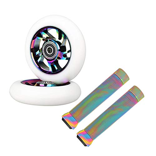 YOBAIH Ruedas De Scooter Freestyle 2pcs Reemplazo de 100 mm STUNC Scooter Wheels Rodamiento Scooter Ruedas con Stunt Scooter Freestyle Agarras (Color : Black with Rainbow)