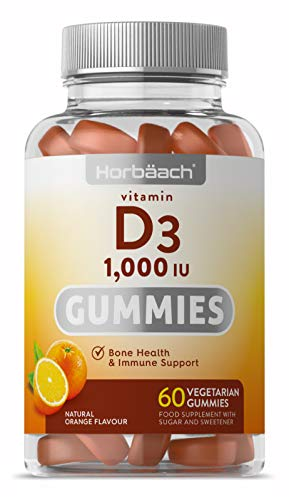 Vitamin D3 Gummies | 1,000 IU | 60 Vegetarian Gummies | Natural Orange Flavour | Immune System Support | Healthy Bones, Muscles & Teeth | Gluten Free, Adult Supplement