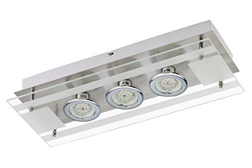 Briloner Design, Moderne Plafonnier Pure acier, Verre, Metal, Carré/LED incluses GU10 Max. 3 x 5 W