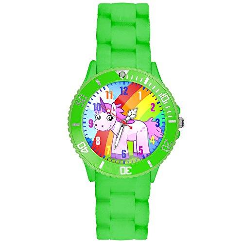 Taffstyle Kinder-Armbanduhr Analog Quarz mit Silikon-Armband Zahlen Einhorn Kinderuhr Lernuhr Sport-Uhr Rainbow Grün
