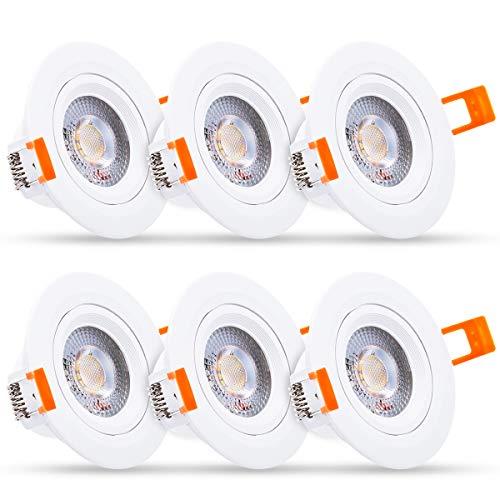 LED plafondlamp, 7W schijnwerpers Downlight (equivalent aan 60W), LOHAS 3000K warm wit, 560LM ronde paneel lampen voor badkamer hal Office, niet-dimbaar, IP65, Pack van 6.