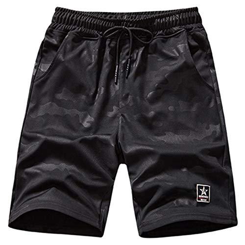SHOULIEER Talla Grande Casual Shorts Hombres Camuflaje Negro Elástico Cintura Suelta Playa Sporting Jogger Shorts Black 9XL