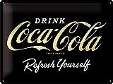 Nostalgic-Art Retro Blechschild Coca-Cola – Logo Negro – Idea de Regalo para los Fans de la Coke, De Metal, Diseño Vintage para decoración, 30 x 40 cm